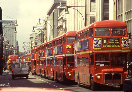 Line of Routemasters in London's Oxford Street