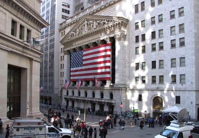 NY stock exchange in Wall St.