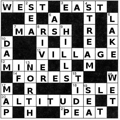 Solution to Geography crossword - intermediate EFL puzzles