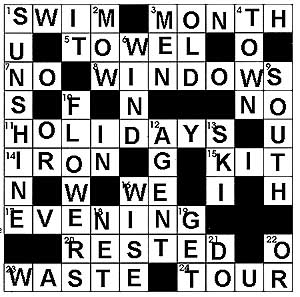 Summer Vocabulary Crossword Answer