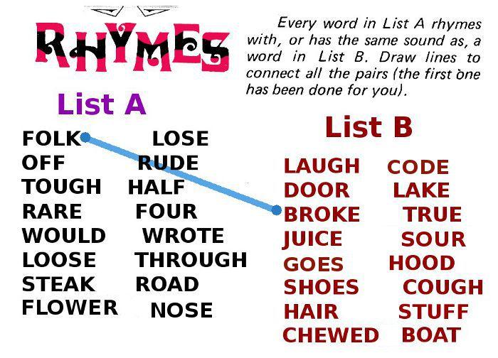 rhyming words intermediate word game
